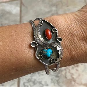 Native American Sterling Turquoise Coral Bracelet